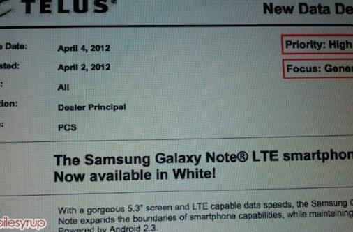 Is Samsung's white Galaxy Note coming to Canada on Telus tomorrow, Bell on April 10?