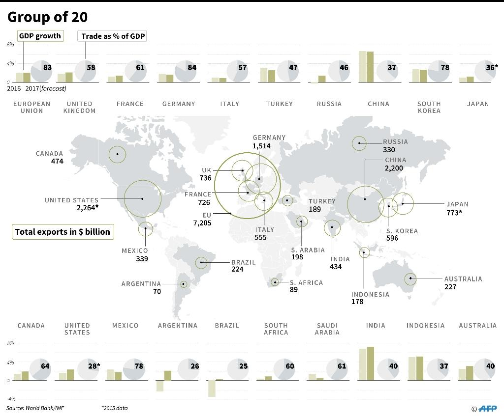 Economic factfile on the Group of 20 countries (AFP Photo/Gal ROMA, Laurence CHU, John SAEKI)