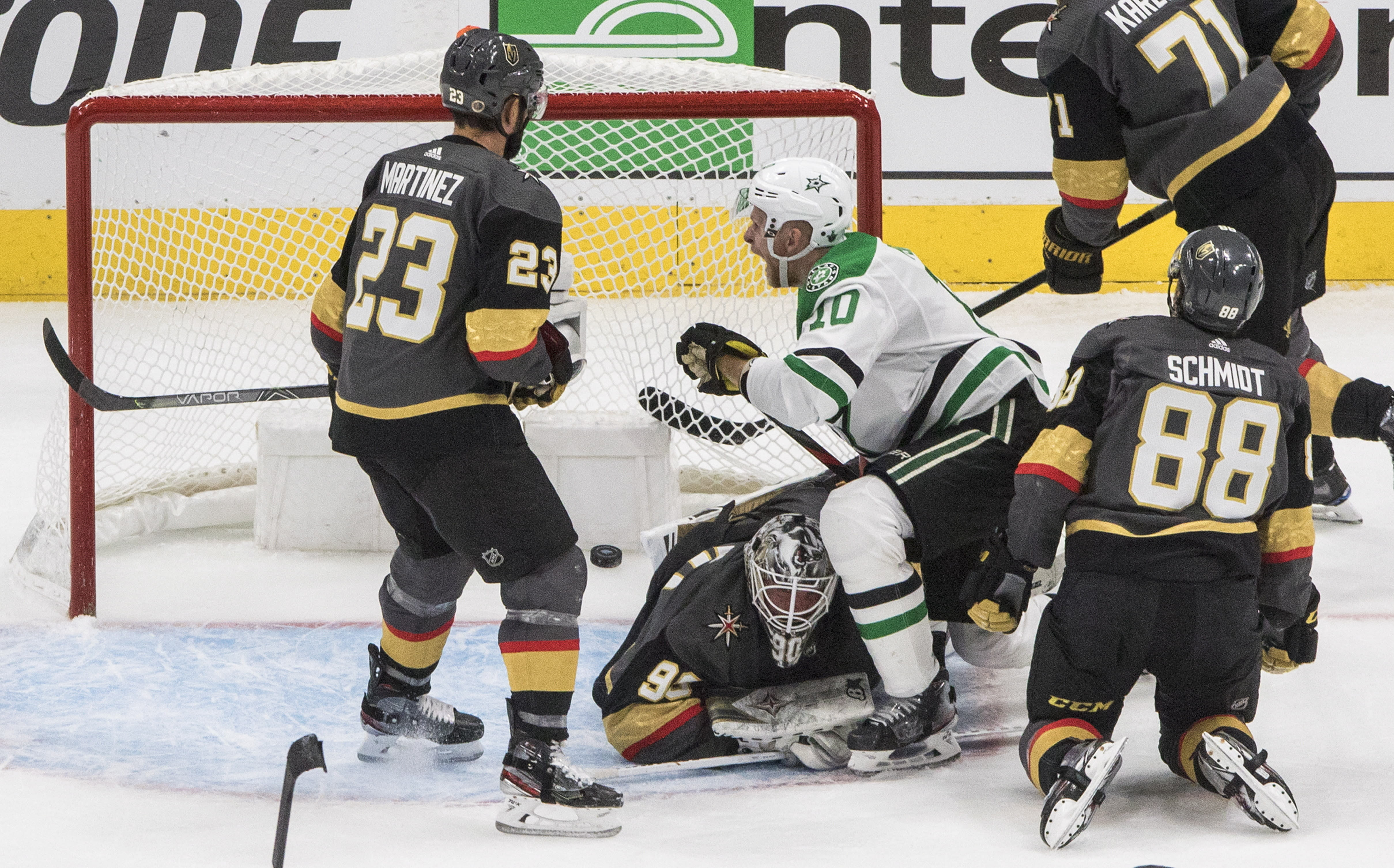 Dallas Stars' Corey Perry (10) reacts as the puck goes into the net past Vegas Golden Knights goalie Robin Lehner (90) on a shot from Joel Kiviranta (not shown) during third-period NHL Western Conference final playoff game action in Edmonton, Alberta, Monday, Sept. 14, 2020. (Jason Franson/The Canadian Press via AP)
