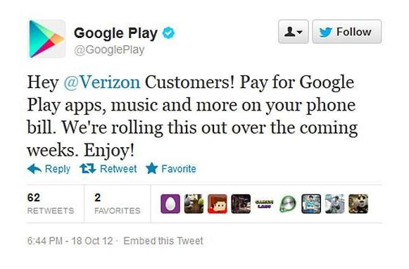 Google to Verizon Android users: carrier billing coming to Play store