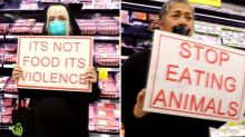 Vegan activists storm supermarket to protest against shoppers buying meat