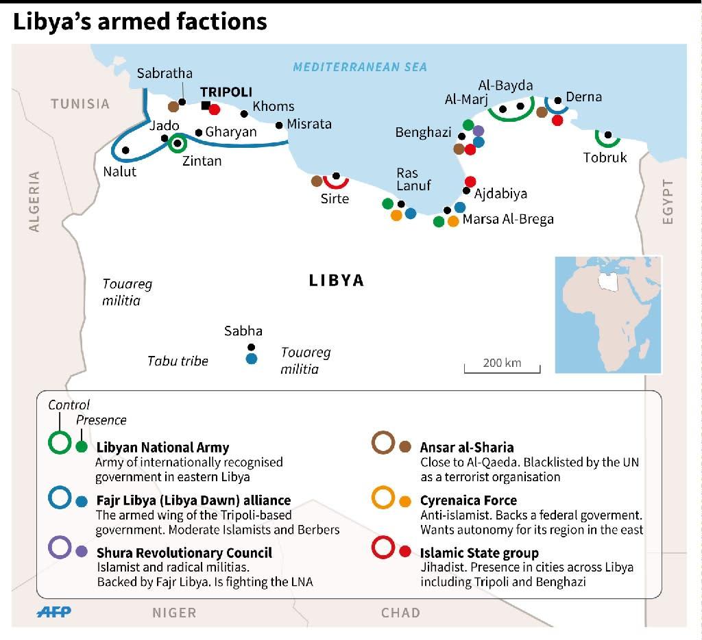 Carte de Libye et localisation des champs de pétrole dont se sont emparés des jihadistes (135 x 165 mm) (AFP Photo/Laurence SAUBADU)