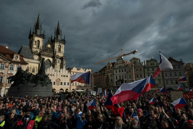 Demonstrators protest in central Prague against the Czech government's new measures to slow the spread of the Covid-19 coronavirus