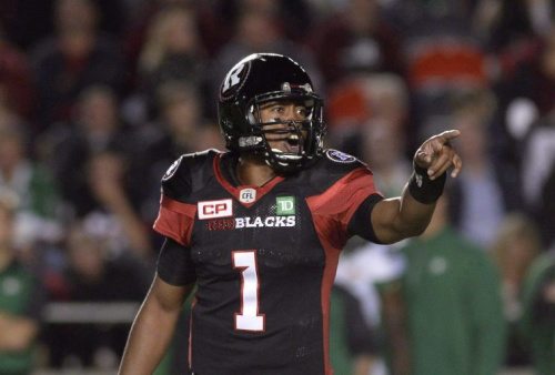 Ottawa Redblacks quarterback Henry Burris makes a call during second half CFL action against the Saskatchewan Roughriders Oct. 7 in Ottawa. (THE CANADIAN PRESS/Justin Tang Photo)