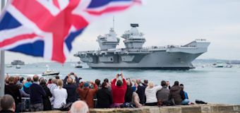 HMS Queen Elizabeth comes to the Royal Navy's spiritual home in Portsmouth