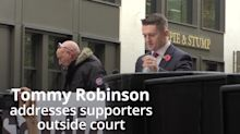 Tommy Robinson defiant as he addresses supporters outside court