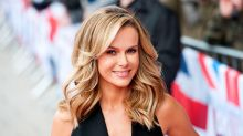 Amanda Holden poses naked atop a cake for her 50th birthday