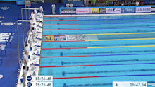 Katie Ledecky had to wait at the finish line for 97 seconds before the last-place swimmer finished a World Championships race