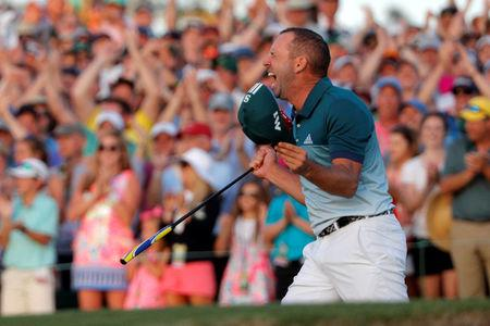 Garcia of Spain celebrates winning the Masters during playoff in final round of the 2017 Masters golf tournament at Augusta National Golf Club in Augusta, Georgia