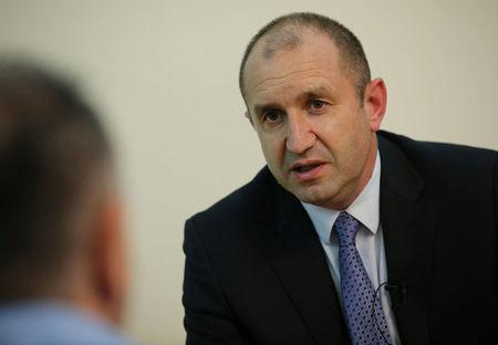 Presidential candidate of the Bulgarian Socialist Party, Radev speaks during an interview with Reuters in Sofia