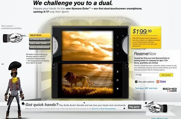 Sprint begins Kyocera Echo reservations, challenges you to a 'dual'