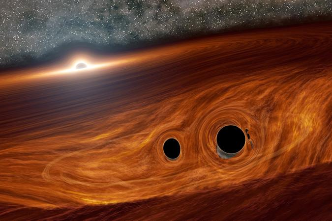 Artist's depiction of orbiting black holes near a supermassive black hole