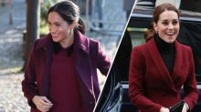 Beerentöne und Samtbesatz: Kate und Meghan tragen ähnliche Winterfarben zu separaten Terminen