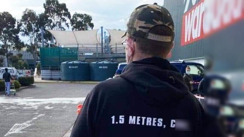 Bunnings customer's X-rated social distancing solution