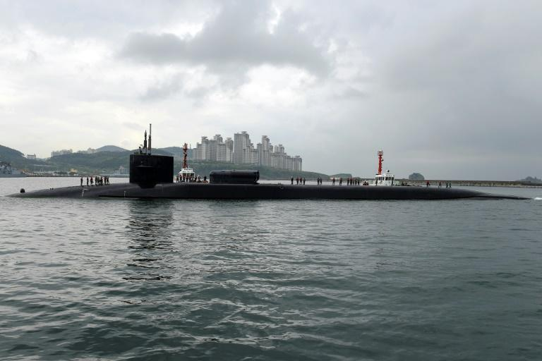 Hard to social-distance: US guided-missile submarine USS Michigan (AFP Photo/Jermaine RALLIFORD)