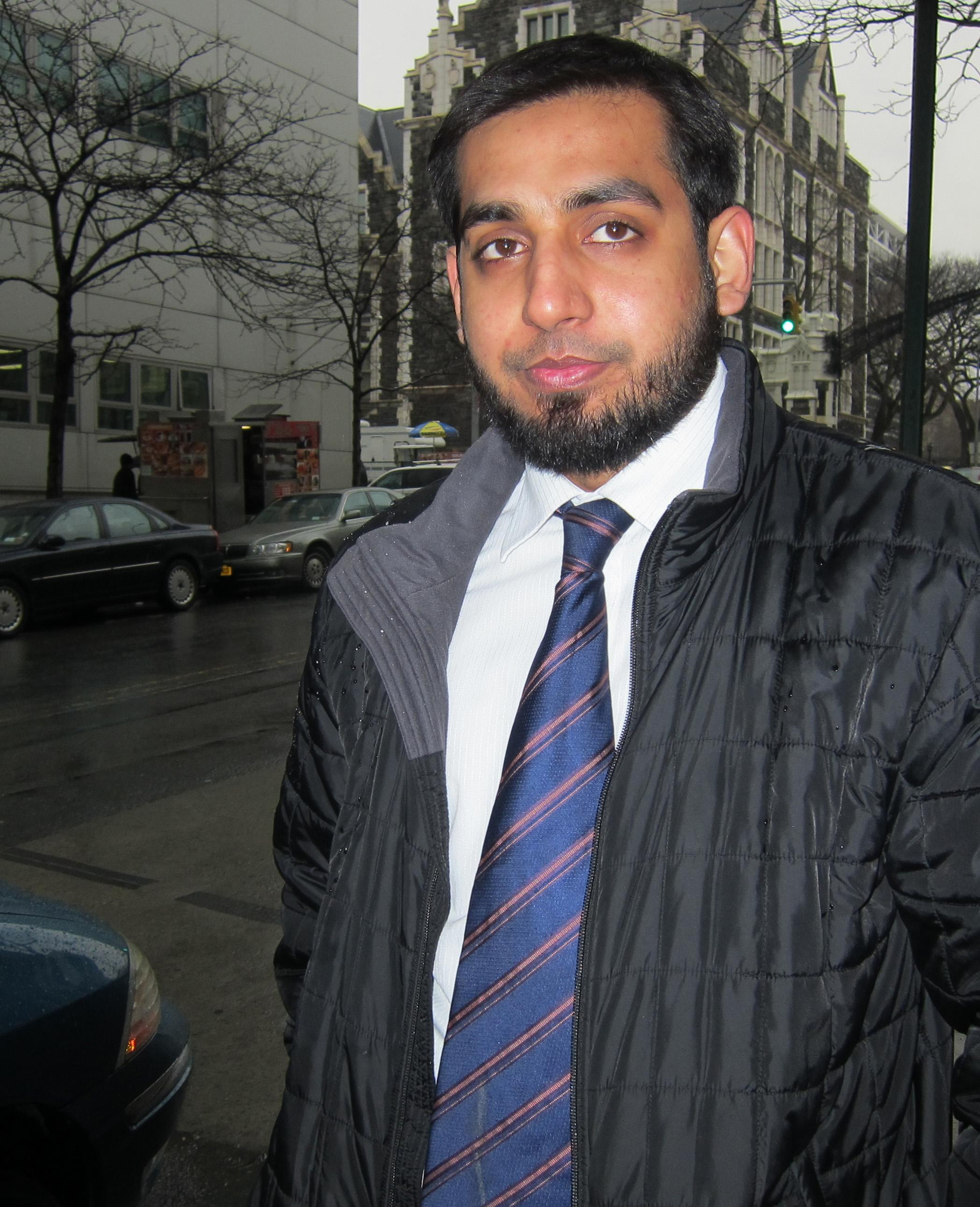 This Thursday, Feb. 16, 2012 photo shows Jawad Rasul near the City College of New York where he is a student. Rasul's name ended up in a New York Police Department report after an undercover officer accompanied him and other Muslim students on a whitewater rafting trip in upstate New York. The New York Police Department monitored Muslim college students far more broadly than previously known, at schools far beyond the city limits, including the Ivy League colleges of Yale and the University of Pennsylvania, The Associated Press has learned. (AP Photo/Ted Shaffrey)