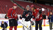 Larry Fitzgerald hits the ice with Shane Doan, Arizona Coyotes