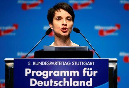 Chairwoman of the anti-immigration party Alternative for Germany (AfD) Frauke Petry addresses the second day of the AfD party congress in Stuttgart