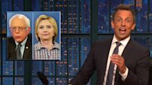 Seth Meyers mocks Hillary Clinton for blaming Bernie Sanders for 'lasting damage' to her campaign
