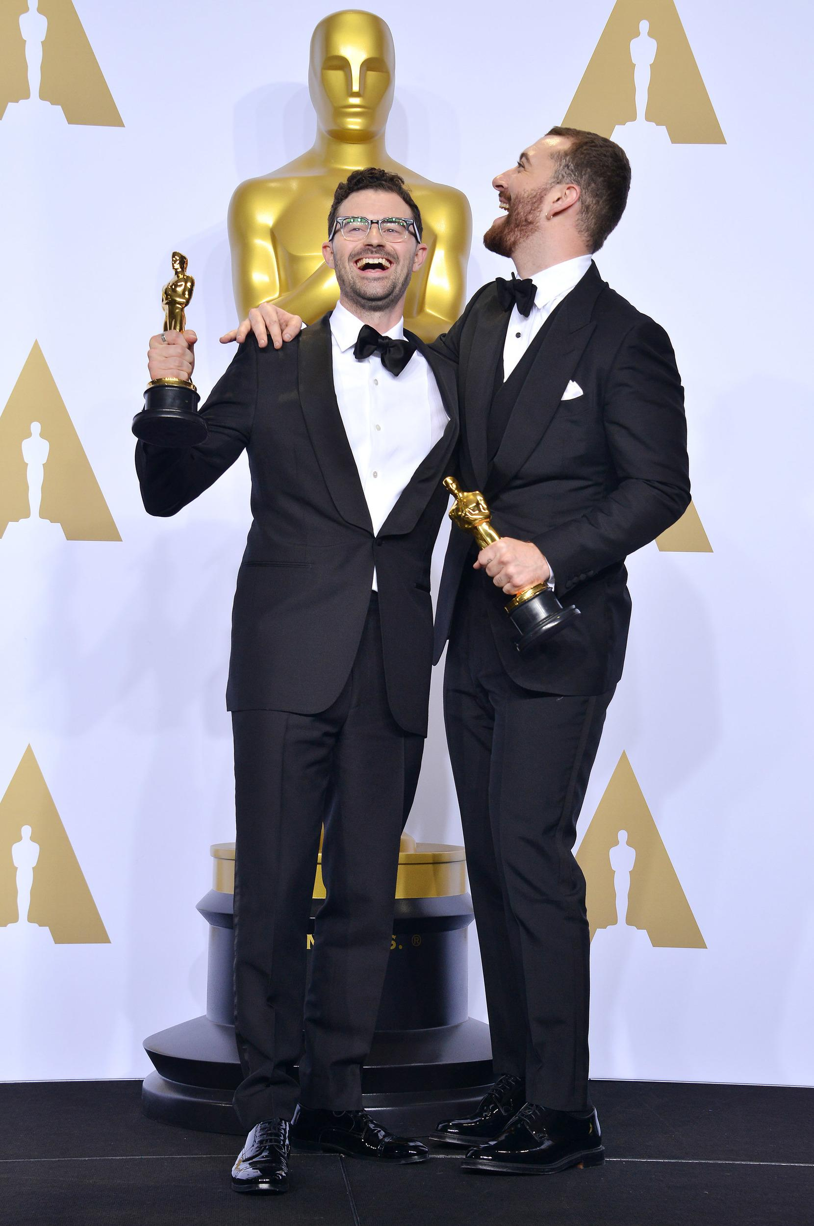 Jimmy Napes and Sam Smith in the Press Room at the 88th Academy Awards Ceremony held at the Dolby Theatre in Hollywood, California on Sunday, February 28, 2016 (Photo By Sthanlee B. Mirador)