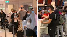 Crowded airport scenes as travel bubble opens with New Zealand