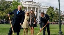 Melania Trump und Brigitte Macron: Modische Hingucker vor dem Weißen Haus