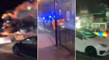 Officers forced to flee after hooded gang shoot fireworks at police car in Birmingham