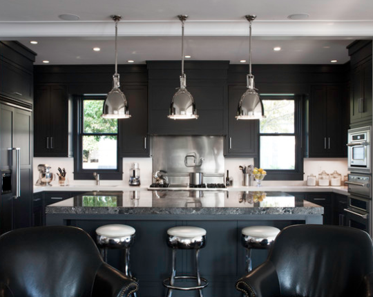 """<p>A trendy, shiny finish pops against dusty black. And the look reads a little rock 'n' roll. """"I can picture AC/DC lead guitarist Angus Young cooking here,"""" writes LDa Architecture & Interiors on Houzz. <i> (Photo: <a href=""""http://www.houzz.com/pro/lda-architecture-interiors/lda-architecture-and-interiors"""" rel=""""nofollow noopener"""" target=""""_blank"""" data-ylk=""""slk:LDa Architecture & Interiors via Houzz"""" class=""""link rapid-noclick-resp"""">LDa Architecture & Interiors via Houzz</a>)</i></p>"""