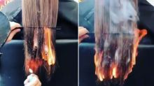 Watch the moment a stylist uses fire get rid of client's split ends