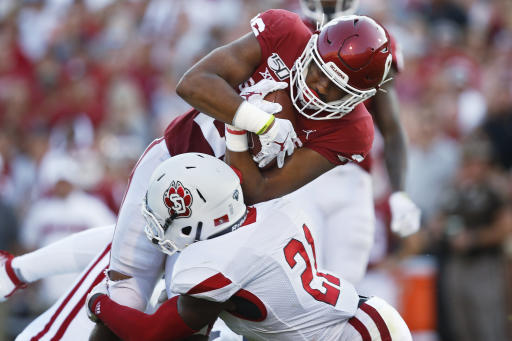 Hurts throws 3 TD passes, No  4 Oklahoma routs South Dakota