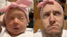 Dad goes viral for copying his newborn daughter's 'milk drunk' faces in funny video