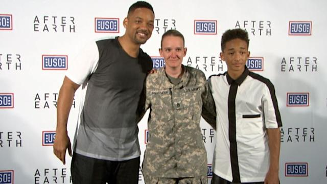 Will Smith, Son Jaden Surprise Troops at Fort Hood