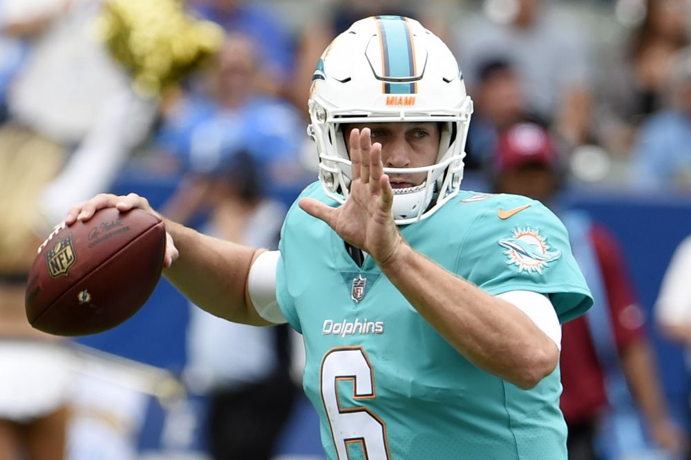 Jay Cutler led the Miami Dolphins to a win in his first game with the team. (AP)