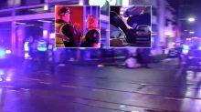 Car slams into pedestrian during huge brawl outside club