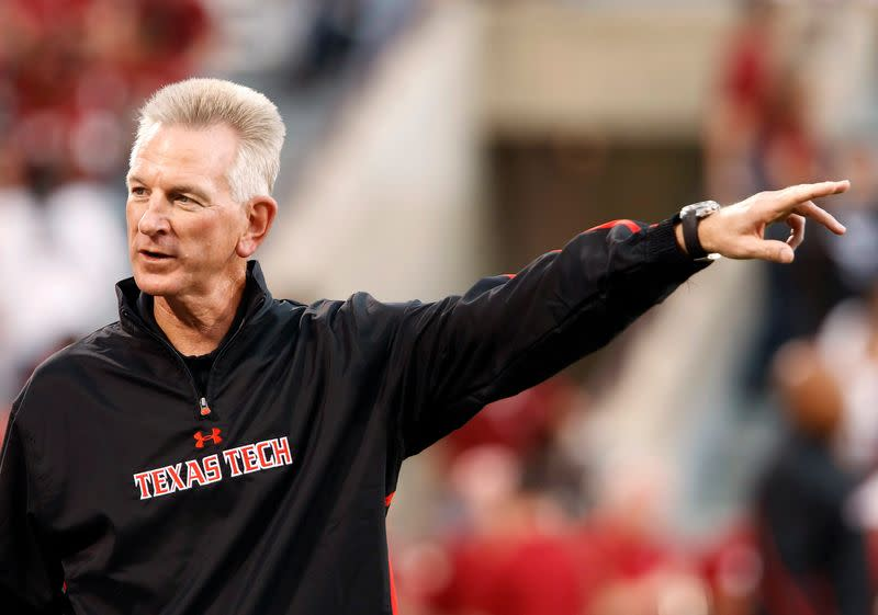 Texas Tech head coach Tuberville gestures during pre-game warm-ups before an NCAA Big 12 Conference football game against the University of Oklahoma in Norman