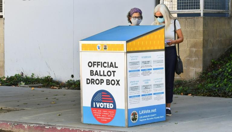 An offical ballot drop box in Los Angeles, California: voting by mail is taking off for the November 3 election