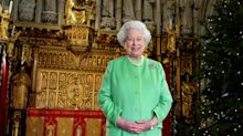 The Queen watches her own Christmas speech