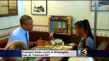 Pres. Obama Eats At Wilmington's Charcoal Pit