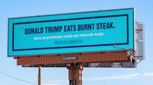 Bloomberg trolls Trump with billboards as Trump campaigns in West