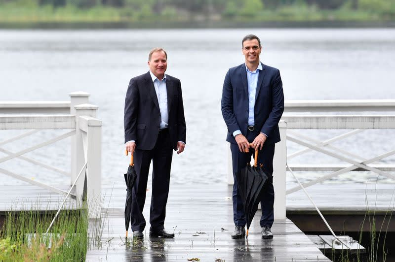 Spanish Prime Minister Pedro Sanchez and Sweden's Prime Minister Stefan Lofven pose for a photo during their meeting in Harpsund