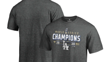 Los Angeles Dodgers World Series championship gear, get your official hats, shirts, and banners now