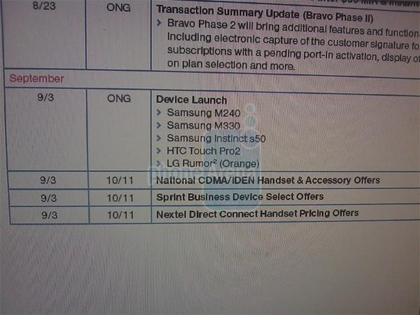 Sprint and HTC Touch Pro2 tie the knot in early September?