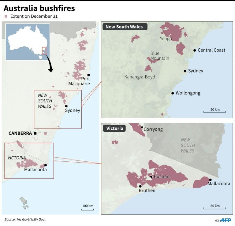 Maps showing the extent of bushfires in Australia (AFP Photo/John SAEKI)