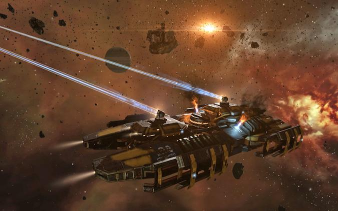 A production still of a spaceship in  a laser battle from EVE Online video game.