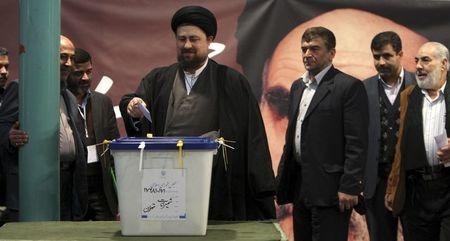Khomeini, grandson of the founder of the Islamic Republic, casts his ballot in a parliamentary election in Tehran
