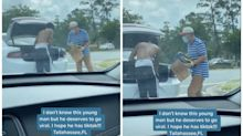 Florida college student who gave his shoes and clothes to a homeless man on the side of an interstate goes viral on TikTok