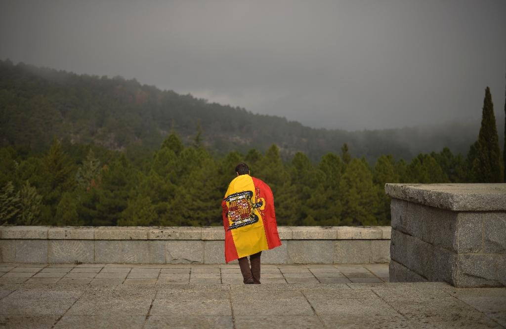 A man leaves the Valley of the Fallen after a mass to commemorate the 37th anniversary of the death of former Spain dictator Francisco Franco, on November 20, 2012 (AFP Photo/Pedro Armestre)