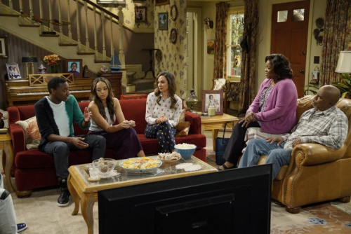 Jerrod Carmichael, Amber Stevens West, Aurora Perrineau, Loretta Devine, and David Alan Grier in 'The Carmichael Show' (Photo by: Chris Haston/NBC)