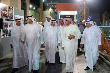 Chairman of the Saudi Binladin Group, Bakr bin Laden, touring the Madina mosque expansion project, with former Saudi Arabia's Finance Minister Ibrahim Al-Assaf in Madina, Saudi Arabia July 23, 2014. REUTERS/ The Saudi state news agency/Handout via REUTERS/Files