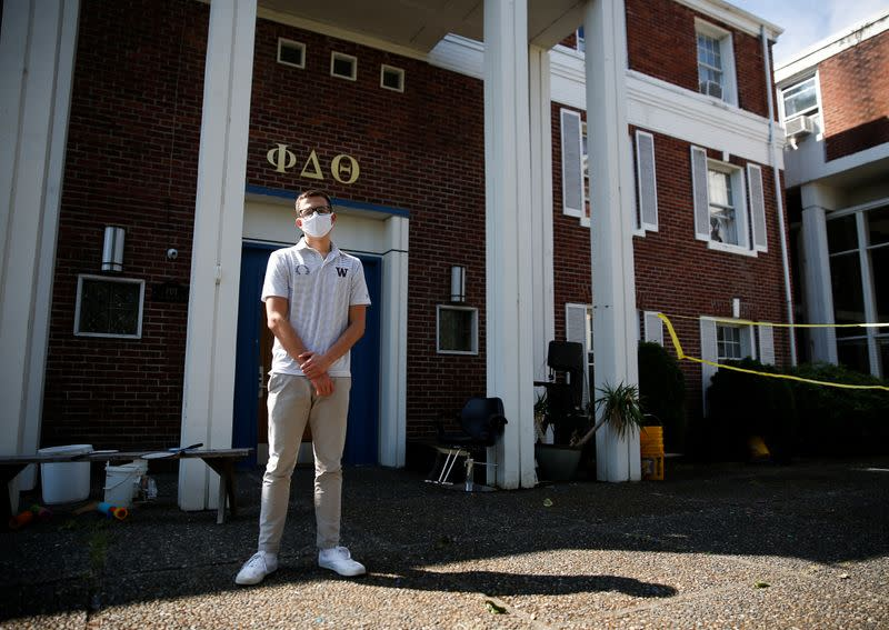 Erik Johnson, president of the interfraternity council at the University of Washington, poses in Seattle